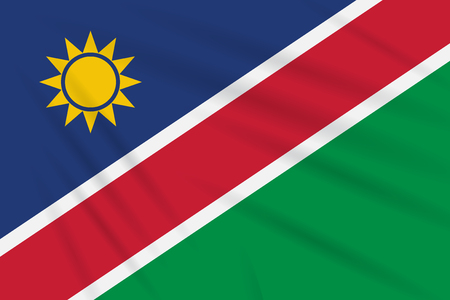 Flag Namibia swaying in the wind, realistic vector.