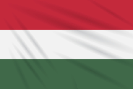 Flag Hungary swaying in the wind, realistic vector.