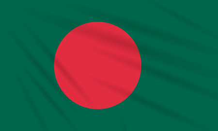 Flag Bangladesh swaying in the wind, realistic vector.