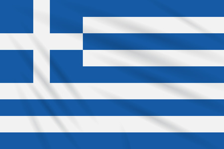 Flag Greece swaying in the wind, realistic vector.