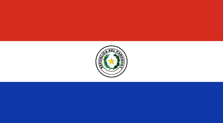 Flag of Paraguay in official rate and colors - front side, vector.