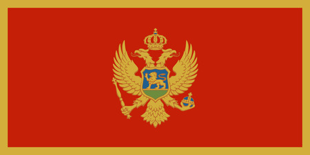 Flag of Montenegro in official rate and colors, vector.