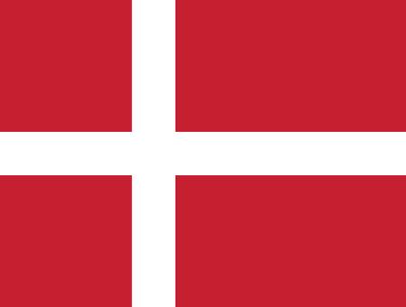 Drapeau du Danemark en taux et couleurs officiels, vecteur. Vecteurs