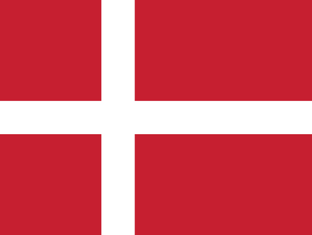 Flag of Denmark in official rate and colors, vector.