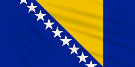 Flag Bosnia and Herzegovina swaying in wind, realistic vector.
