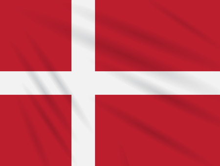 Flag Denmark swaying in wind, realistic vector.