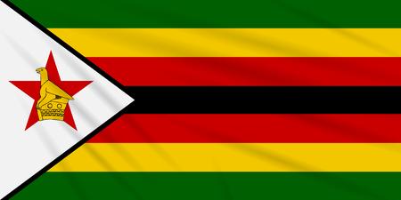 Flag Zimbabwe swaying in wind, realistic vector. Иллюстрация