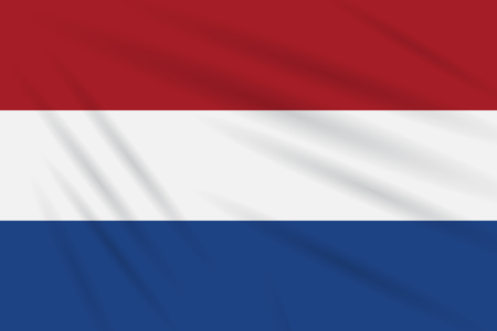 Flag Netherlands swaying in wind, realistic vector. Иллюстрация