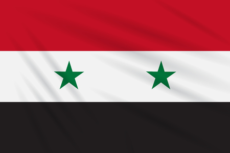 Flag Syria swaying in wind, realistic vector.