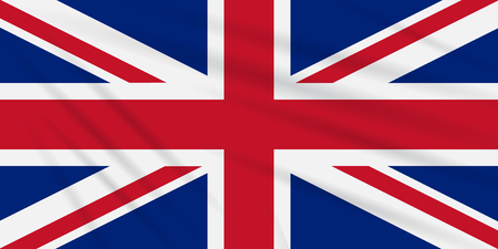 Flag United Kingdom swaying in wind, realistic vector. Illustration