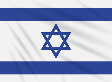 Flag Israel swaying in wind, realistic vector. Illustration