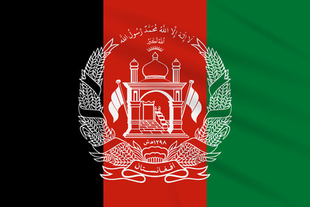 Flag Afghanistan swaying in wind, realistic vector.