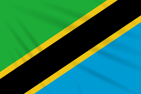Flag Tanzania swaying in wind, realistic vector.