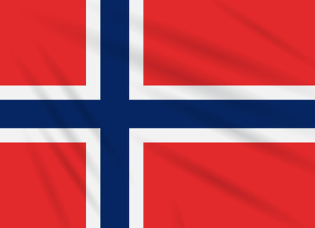 Flag Norway swaying in wind, realistic vector.