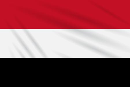 Flag Yemen swaying in wind, realistic vector. Иллюстрация
