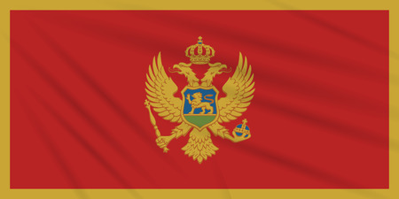 Flag Montenegro swaying in wind, realistic vector.