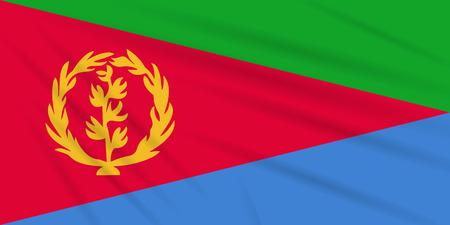 Flag Eritrea swaying in wind, realistic vector. Иллюстрация