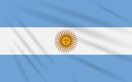 Flag Argentina swaying in wind, realistic vector.