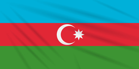 Flag Azerbaijan swaying in wind, realistic vector. Иллюстрация