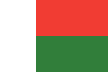 Flag of Madagascar in official rate and colors, vector.
