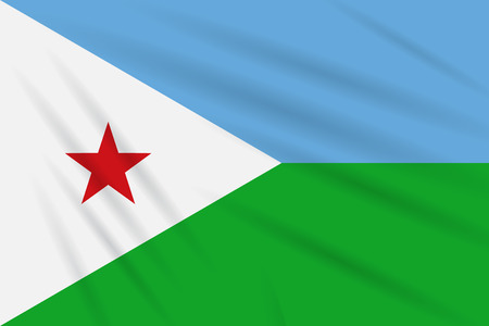 Flag Djibouti swaying in wind, realistic vector. Иллюстрация
