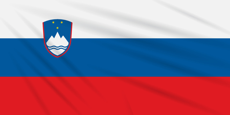 Flag Slovenia swaying in wind, realistic vector.