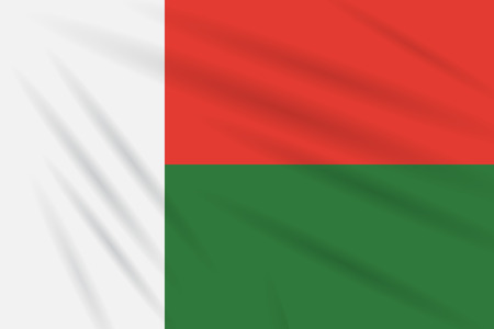 Flag Madagascar swaying in wind, realistic vector.
