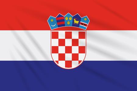 Flag Croatia swaying in wind, realistic vector.