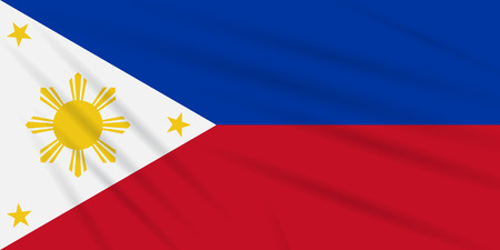 Flag Philippines - peaceful time swaying in wind, realistic vector