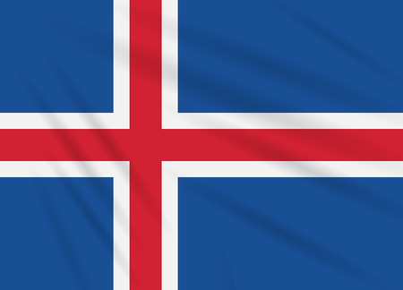 Flag Iceland swaying in wind, realistic vector.