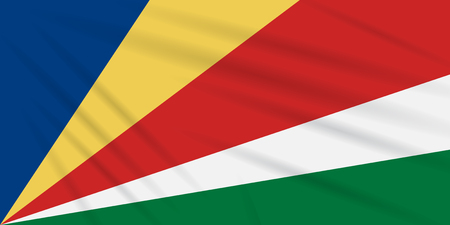 Flag Seychelles swaying in wind, realistic vector.