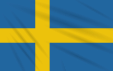 Flag Sweden swaying in wind, realistic vector.