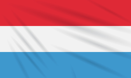 Flag Luxembourg swaying in wind, realistic vector.