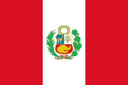 Flag of Peru in official rate and colors, vector. Foto de archivo - 111831062