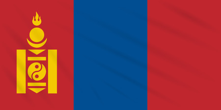 Flag Mongolia swaying in wind, realistic vector.