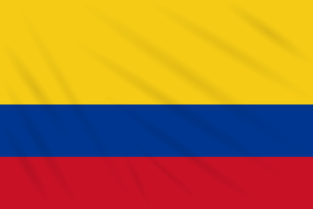 Flag Colombia swaying in wind, realistic vector.