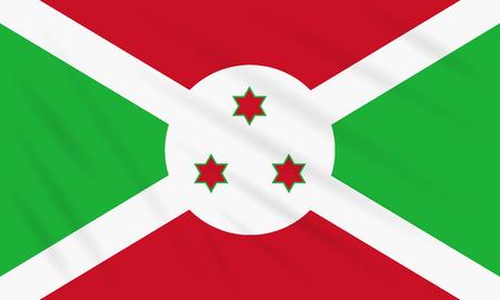 Flag Burundi swaying in wind, realistic vector. Иллюстрация
