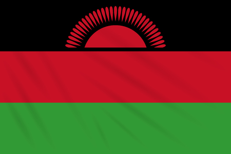 Flag Malawi swaying in wind, realistic vector. 向量圖像