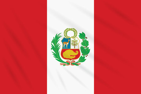 Flag Peru swaying in wind, realistic vector.
