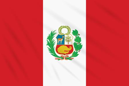 Flag Peru swaying in wind, realistic vector. Ilustração