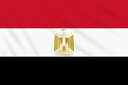 Flag Egypt swaying in wind, realistic vector.