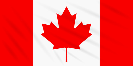 Flag Canada swaying in wind, realistic vector.