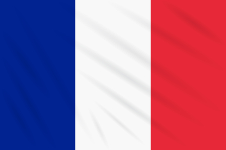 Flag France swaying in wind, realistic vector. Illustration