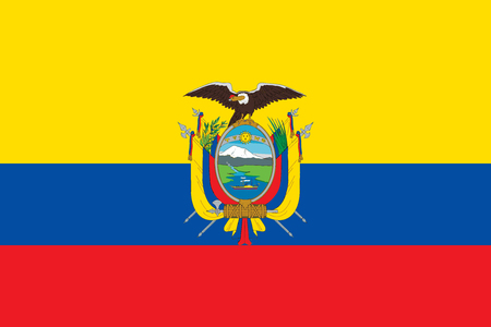 Flag of Ecuador in official rate and colors vector. Ilustração