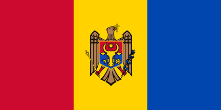 Flag of Moldova in official rate and colors vector - reverse side