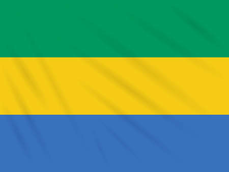 Flag Gabon swaying in wind, realistic vector.