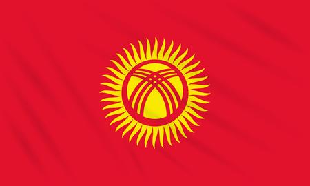 Flag Kyrgyzstan swaying in wind, realistic vector.