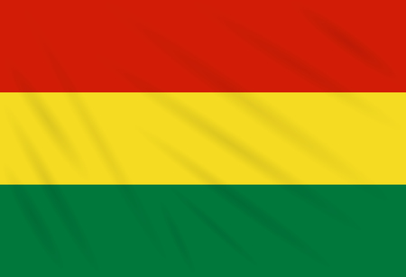 Flag Bolivia swaying in wind, realistic vector. Illustration