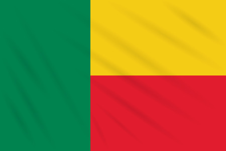 Flag Benin swaying in wind, realistic vector.