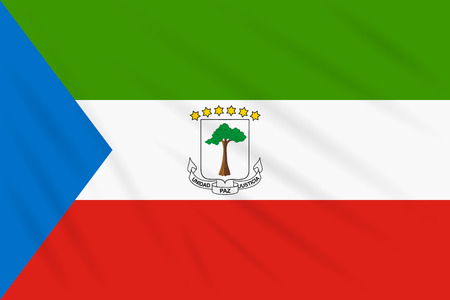 Flag Equatorial Guinea swaying in wind, realistic vector.